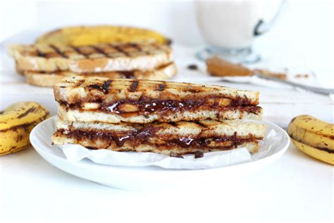 Banana Chocolate Melted grilled chocolate banana and peanut butter sandwich