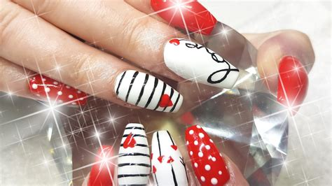 acrylic nails cupids valentines day nail design