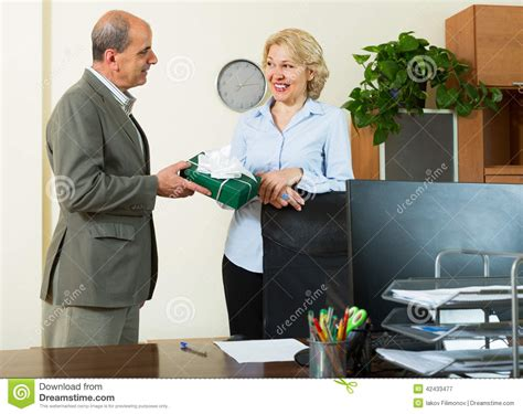 office manager congratulating stock photo image 42433477