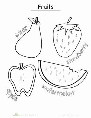 worksheets for preschool fruits fruits coloring page d coloring and fruit