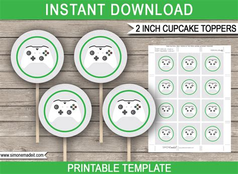 xbox gift card template xbox cupcake toppers printable gift tags theme