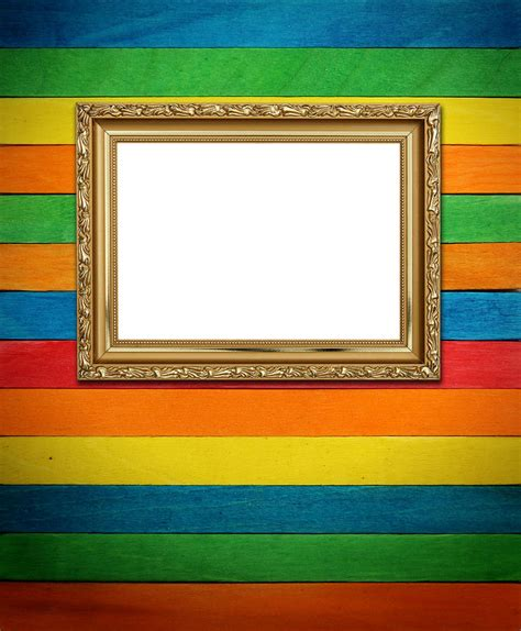 colorful picture frames gold frame on colorful wood background photograph by