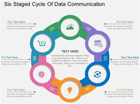 visual communication design ppt sp six staged cycle of data communication flat powerpoint
