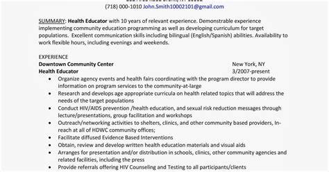 health educator resume sle health educator resume sle resume ideas
