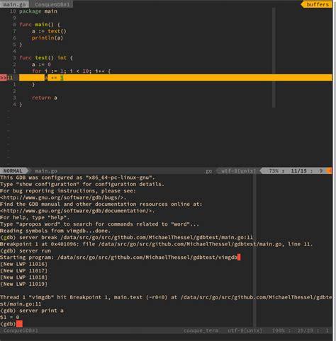 vim go go vim debugging with gdb dev notes