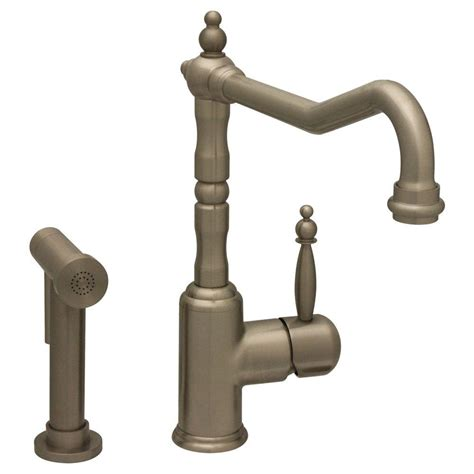 whitehaus kitchen faucet 2018 whitehaus collection jem collection single handle side sprayer kitchen faucet in brushed nickel