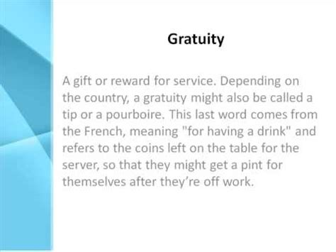 Or Meaning Gratuity Definition What Does Gratuity