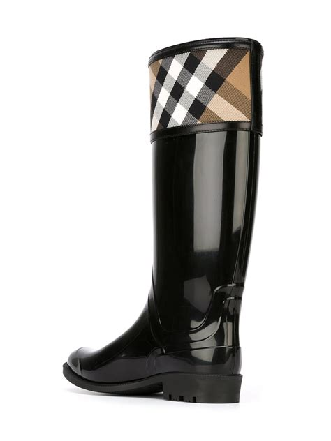 burberry boots burberry house check boots in black lyst