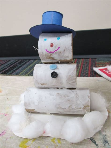 Snowman Toilet Paper Roll Craft - snowman craft with toilet paper rolls kindergarten