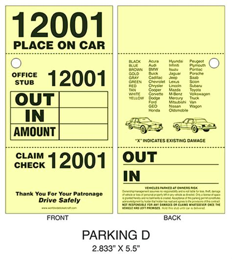 printable valet tickets buy 3 part valet parking ticket d