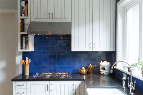 blue tile kitchen backsplash cobalt blue backsplash kitchen contemporary with stainless