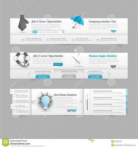 web design menu layout web design menu navigation elements image slider stock