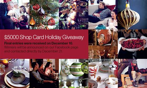 Crate And Barrel Sweepstakes - 5 000 shop card holiday giveaway crate and barrel