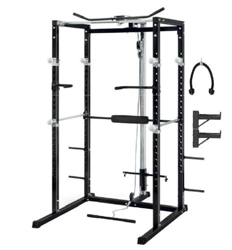 care fitness power rack with lat pulldown fitness