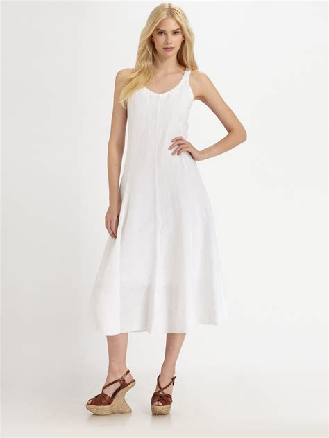 Eileen fisher Handkerchief Linen Dress in White   Lyst
