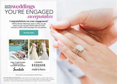 Sandals Honeymoon Giveaway - win a honeymoon at a sandals resort on martha stewart weddings you re engaged