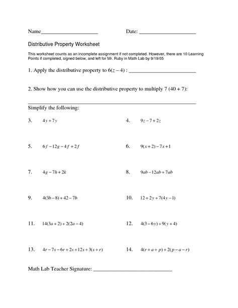 Distributive Property Solving Equations Worksheet by Simplifying Expressions With Distributive Property