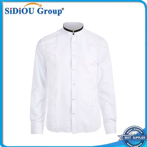desain kemeja putih berdiri up kerah mens korea murah kemeja putih desain