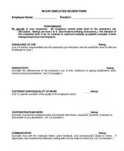 90 Day Performance Review Template by Sle Employee Review Form 10 Free Documents In Doc Pdf