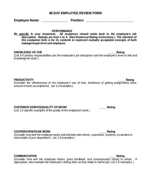 sle employee review form 10 free documents in doc pdf