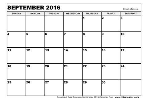 Sept Calendar Blank September 2016 Calendar In Printable Format