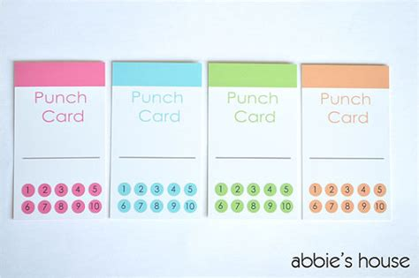 change punch card template 6 best images of printable chore punch cards free