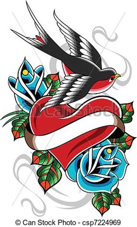 eps vectors of swallow flower heart tattoo csp7224969