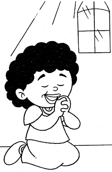 Cristãos kids: Imagens de crianças orando para colorir