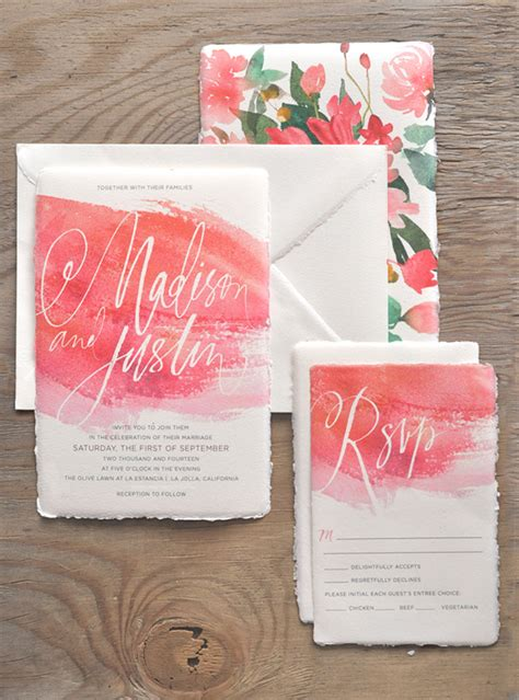 watercolor calligraphy wedding invitations  julie song ink