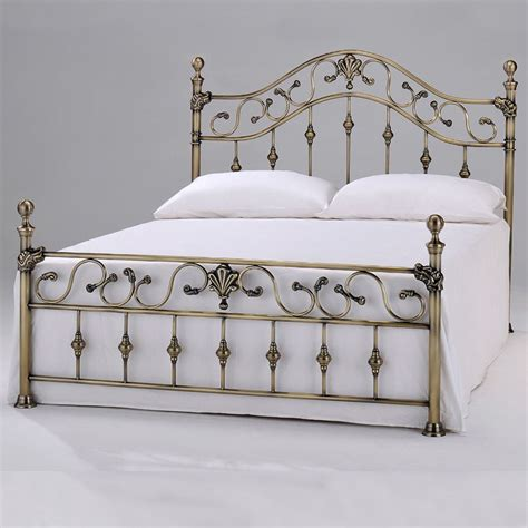 metal bed frame with headboard harmony classic antique elizabeth 4ft6 double brass metal