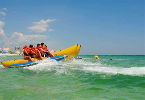 fan boat rides panama city florida banana boat ride in panama city beach adventures at sea