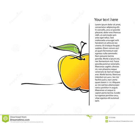 layout apple page layout with apple icon freehand drawing royalty free