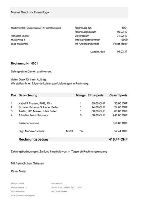 Rechnung Anfechten Schweiz Rechnungsvorlage Kostenlos Word Excel Muster Und Vorlagen Kostenlos