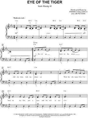printable lyrics eye of the tiger survivor sheet music downloads at musicnotes com