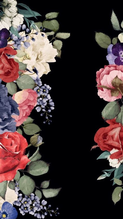 rose pattern screen lock beautiful flower black background for iphone wallpaper