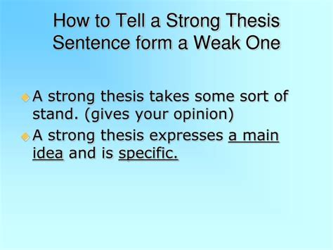 strong and weak thesis statement exles ppt thesis statement powerpoint presentation id 7106349