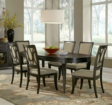 Transitional Dining Room Sets | 7 piece aura oval leg dining room set samuel lawrence