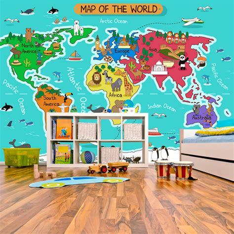 Animal Map Wallpaper Mural Map - animal world map wall mural map photo wallpaper