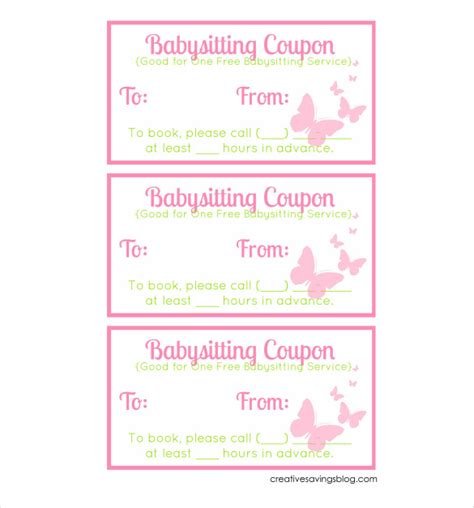 babysitting coupon template baby sitting coupon template 10 free printable pdf