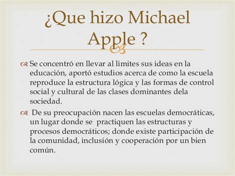 Modelo Curricular De Michael Apple Michael Apple 1942