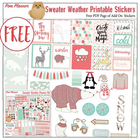 printable planner holiday stickers sweater weather foxes planner kit free planner stickers