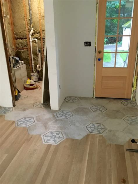 tile to wood transition organic transition wood to tile homebuilding