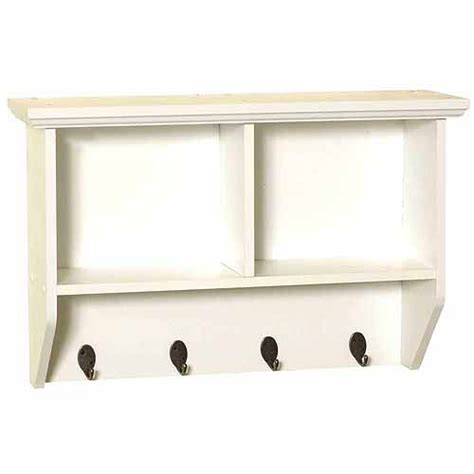 zenith products 9924wwa white wall shelf with hooks