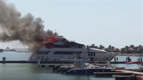 yacht on fire 35m yacht catches fire in uae yacht harbour