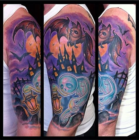 old ghost tattoo school style colored on shoulder of