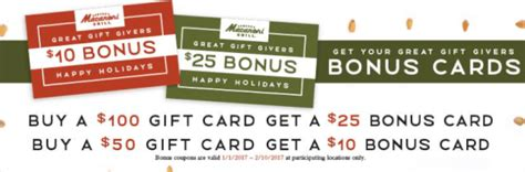 Macaroni Grill Gift Card Bonus - macaroni grill gift card deal 25 off bonus card dec 12 only bargains to bounty
