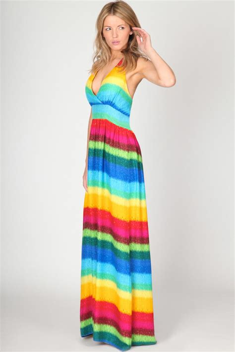 Rainbow Maxy Dress boohoo amiee rainbow striped halterneck maxi dress in