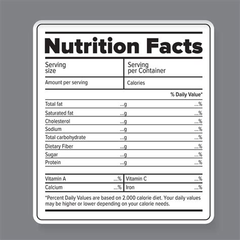 Nutrition Chart Template Nutrition Facts Vector Label Objects On Creative Market