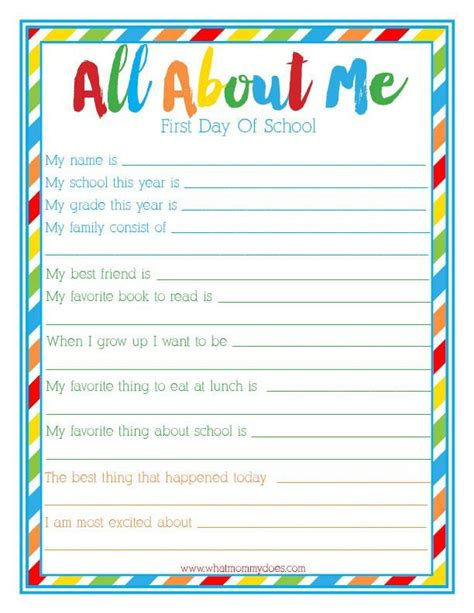 printable questionnaire for students first day of school quot all about me quot interview free