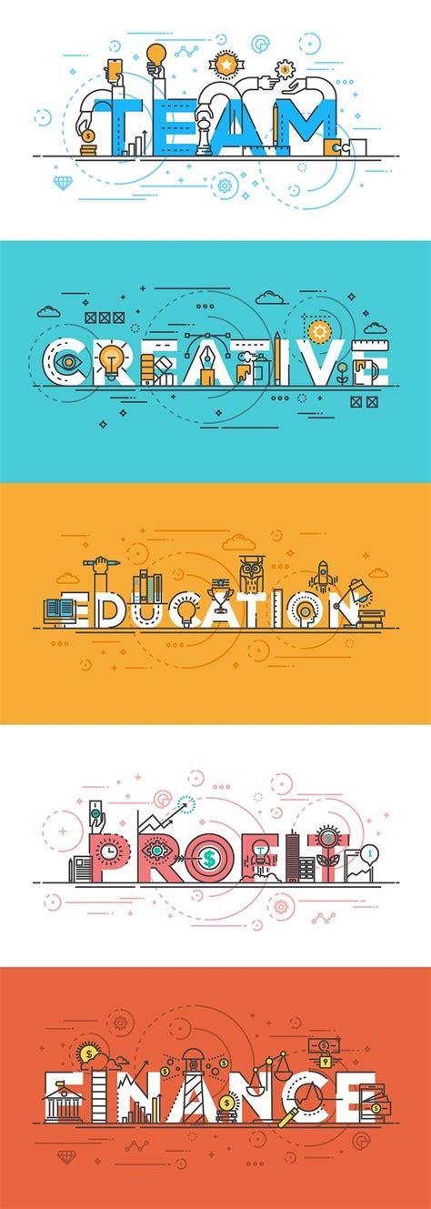 Banner Design On Behance | set of flat line color banners design concept on behance